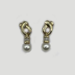 vintage earrings crossover tops and cultured pearl drops