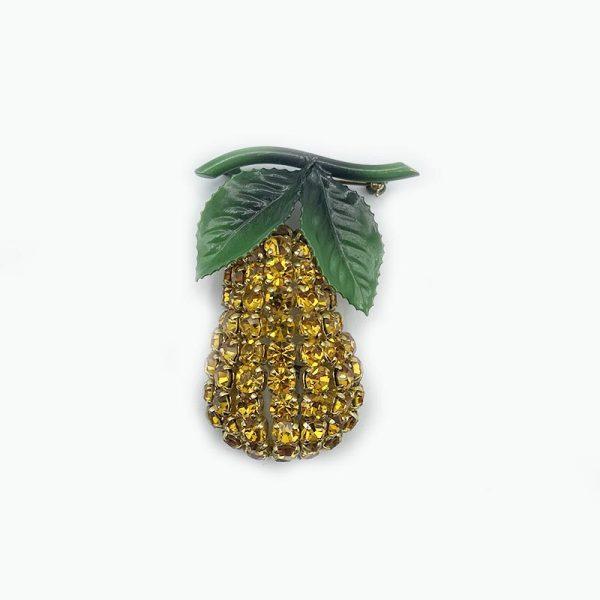 Yellow Rhinestone Pear Brooch