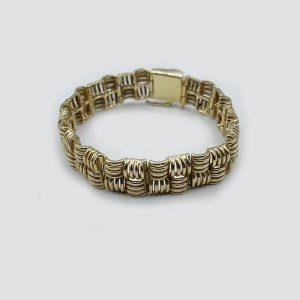 14Kt Gold Criss Cross Cuff Bracelet