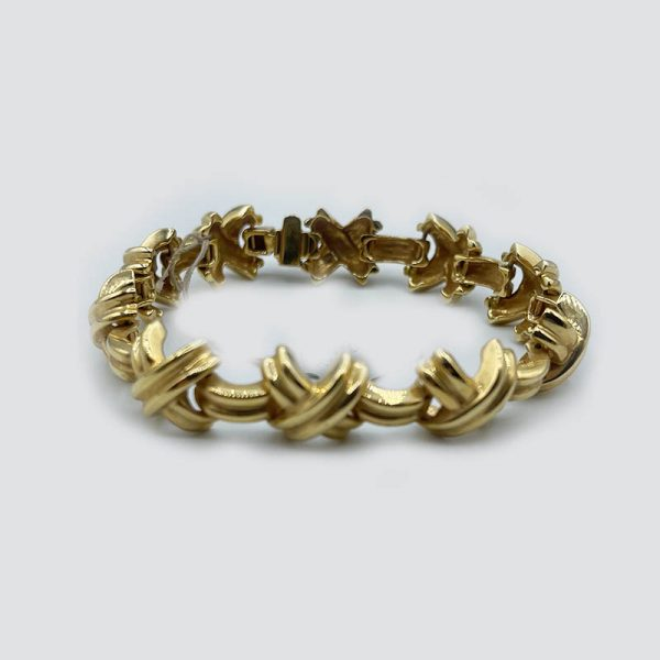 14k curved X bracelet