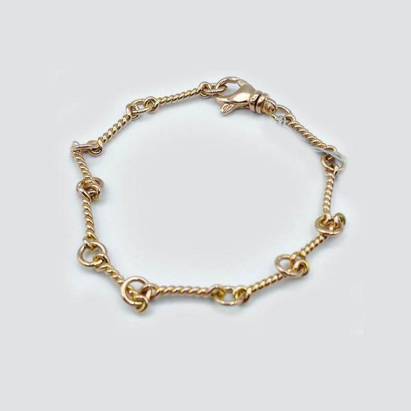 14kt Rose Gold Twist Bar Chain Bracelet