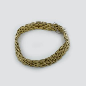 18kt Gold Intertwined Link Thick Bracelet - 4 Rows