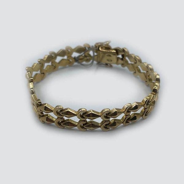18kt Gold Moon and Diamonds Double Link bracelet