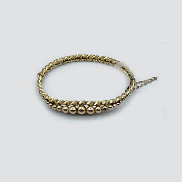 9kt Gold Twisted Antique Bracelet with Gold Balls