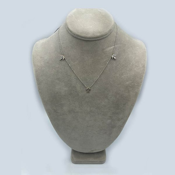 14K white gold necklace with tri - leaf