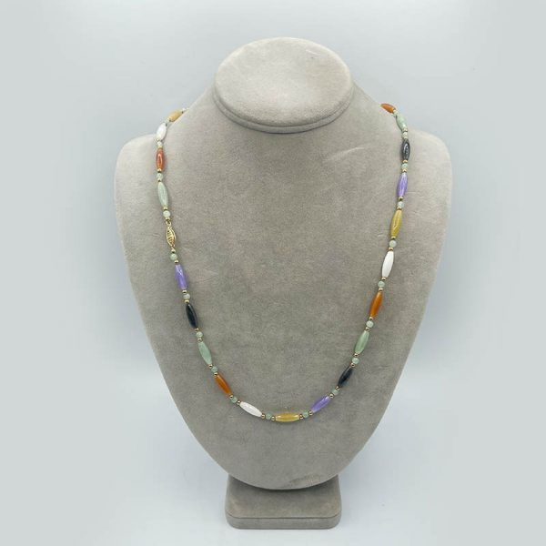 14kt Gold Jade Necklace - Multicolored