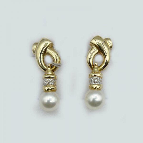 14kt Gold Pearl Ball Drop Earrings