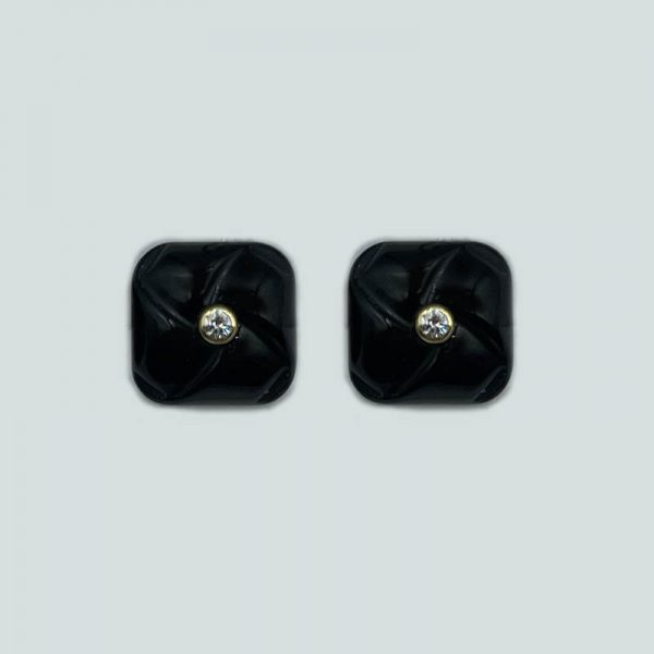 14kt Gold Rounded Square Onyx Earrings