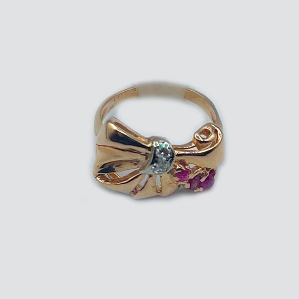 14kt Rose Gold Bow Ring with Diamonds and Rubies
