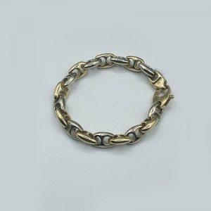 14kt Two Toned Chain Link Bracelet