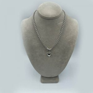 14kt WHite Gold Chain Necklace with Puffed Heart