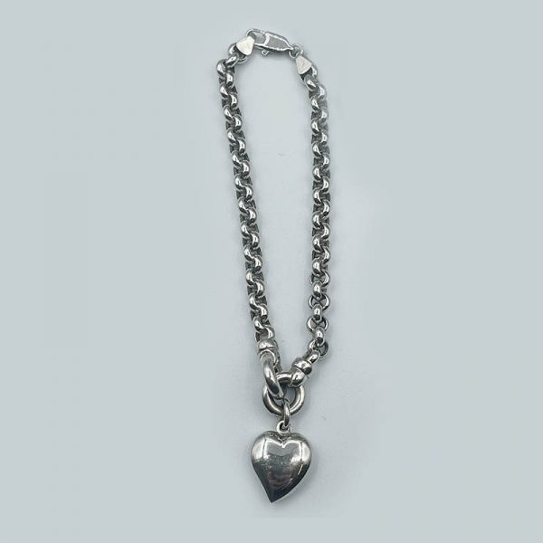 14kt White Gold Chain Bracelet with Puffed Heart Pendant