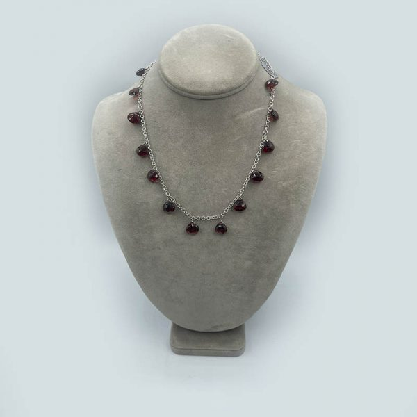 14kt White Gold Necklace with Hanging Garnets