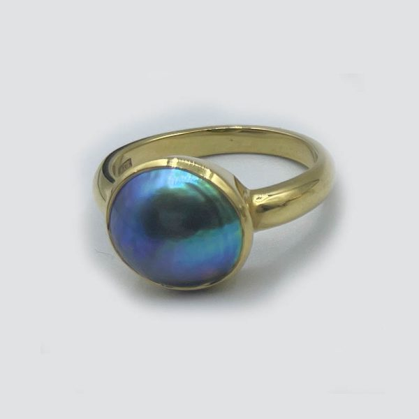 18K Gold and Abalone Ring