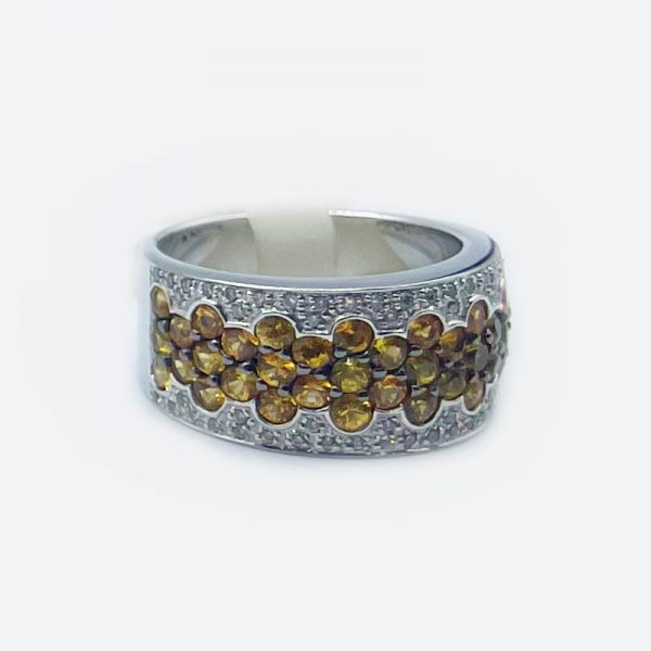 18kt WHite Gold Ring with Yellow Sapphires