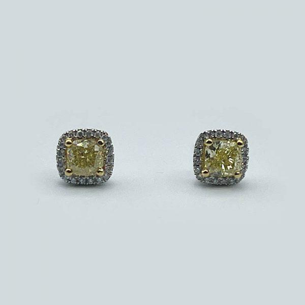 18kt Yellow and White Diamond Stud Earrings