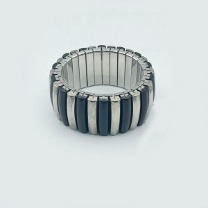 Plated Silver Stretch Bracelet with Black