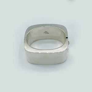 Rounded Square Silver Cuff Bracelet