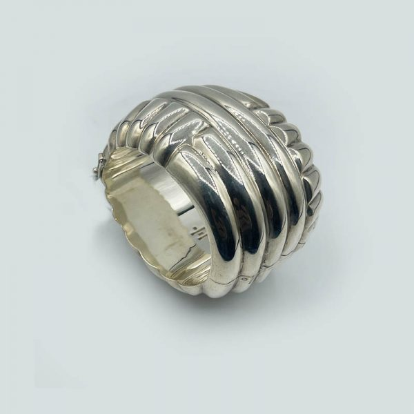 Silver Wide Cuff Bangle Bracelet