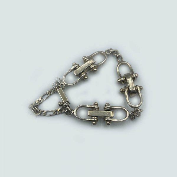 Silver Locking Chain Link Bracelet