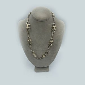 Silver Locking Chain Link Necklace