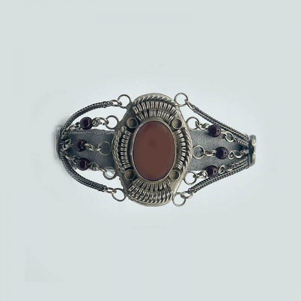 Silver and Cornelian Garnet Bracelet