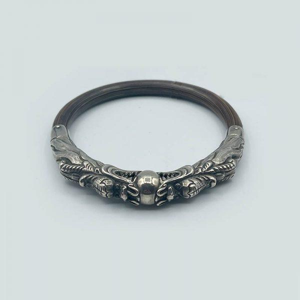 Silver and Wood Bangle Bracelet