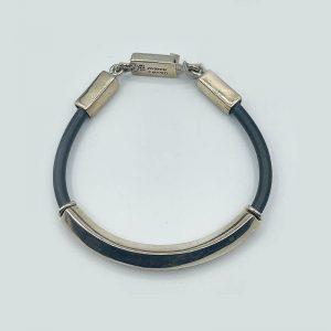 Sterling and Rubber Bangle Bracelet