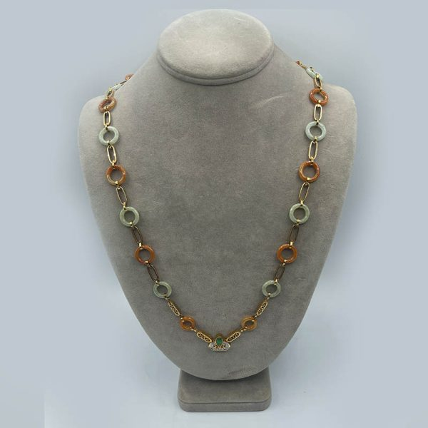 Vintage Gold, Jade and Diamond Necklace