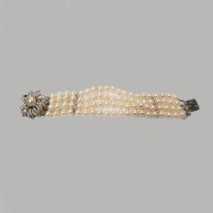 14kt WHite Gold Flower DIamond and Cultured Pearl Bracelet